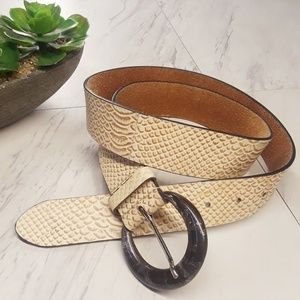 Chico's Genuine Leather Reptile Print Tan Belt M
